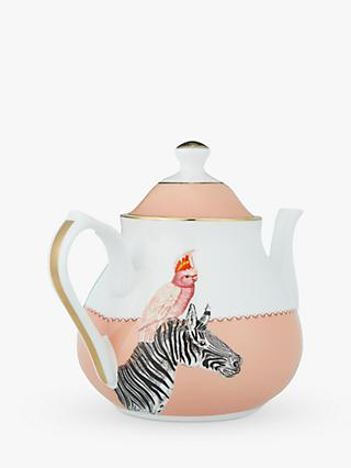 Yvonne Ellen Cockatoo and Zebra Teapot, Pink/Multi