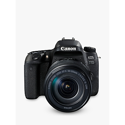 Canon EOS 77D Digital SLR Camera with EF-S 18-135mm IS USM Lens, HD 1080p, 24.2MP, Wi-Fi, Bluetooth, NFC, Optical Viewfinder, 3 Vari-Angle Touch Screen