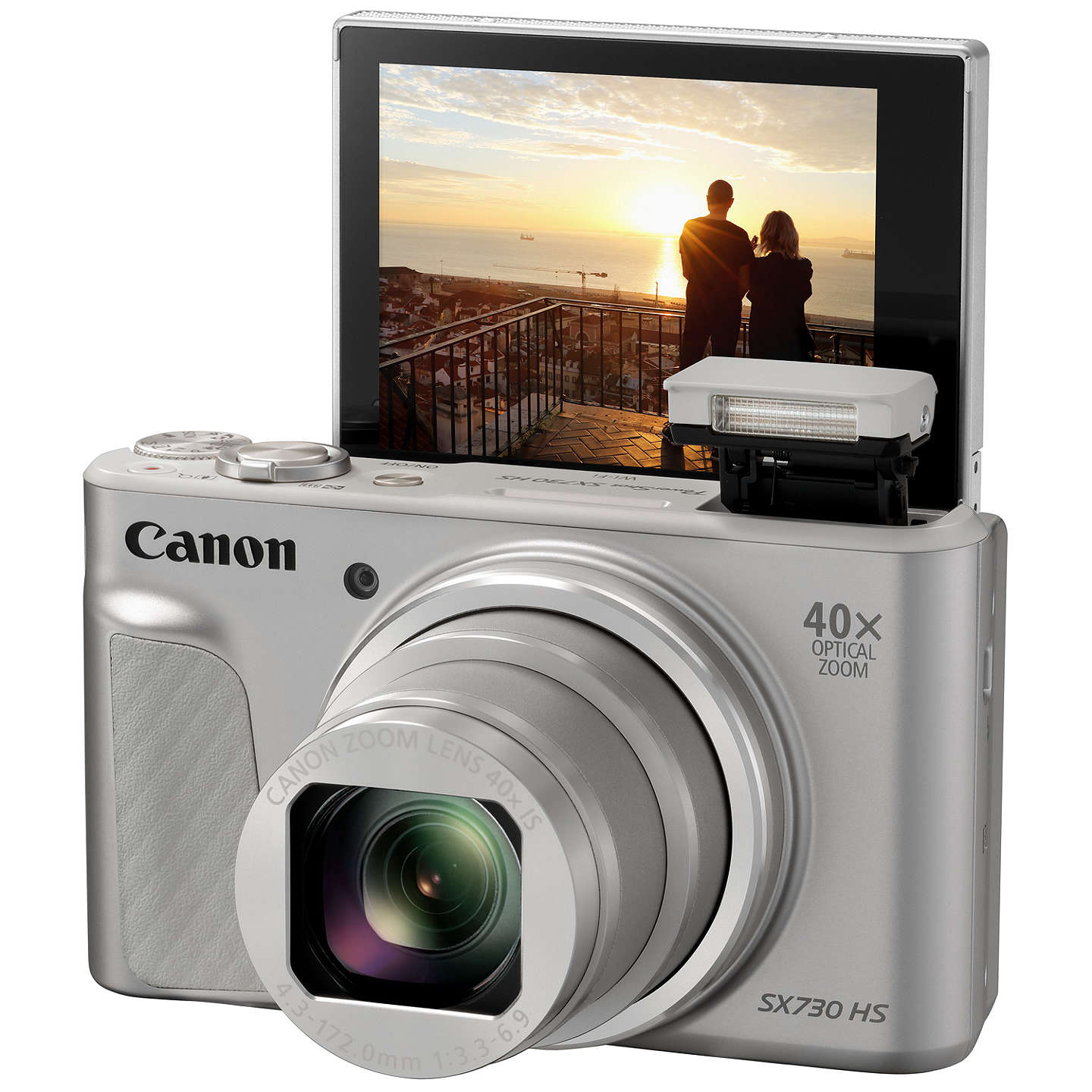 "BuyCanon PowerShot SX730 Digital Camera, HD 1080p, 20.3MP, 40x Optical Zoom, Wi-Fi, Bluetooth, NFC, 3"" Tiltable Screen with Joby GorillaPod Original Tripod & Travel Case, Silver Online at johnlewis.com"