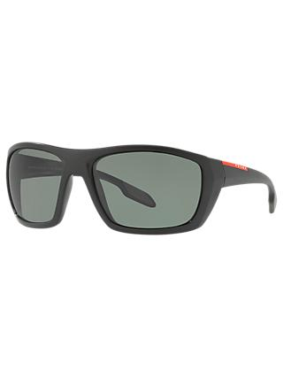 4c9e5c992d2d Prada Linea Rossa PS 06SS Polarised Rectangular Sunglasses, Black/Grey
