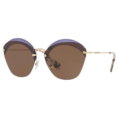 Miu Miu MU 53SS Oval Sunglasses, Brown