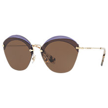 Buy Miu Miu MU 53SS Oval Sunglasses, Brown Online at johnlewis.com