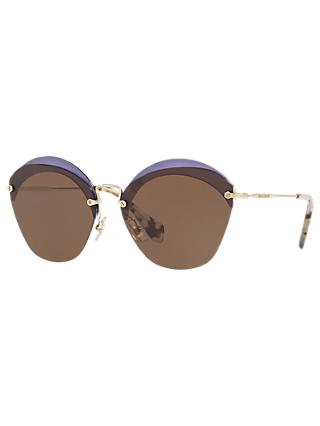 Miu Miu MU 53SS Oval Sunglasses, Brown