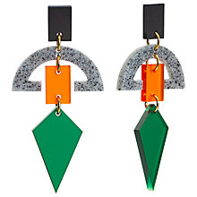 Buy Toolally Half Moon Drop Earrings, Green/Orange Online at johnlewis.com