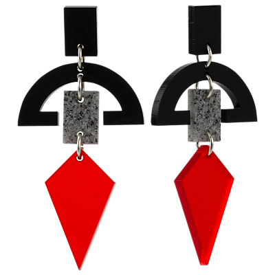 Product photo of Toolally half moon drop earrings red black