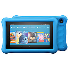 "Buy 2x Amazon Fire 7 Kids Edition Tablet with Kid-Proof Case, Quad-core, Fire OS, Wi-Fi, 16GB, 7"", Blue and Pink Online at johnlewis.com"