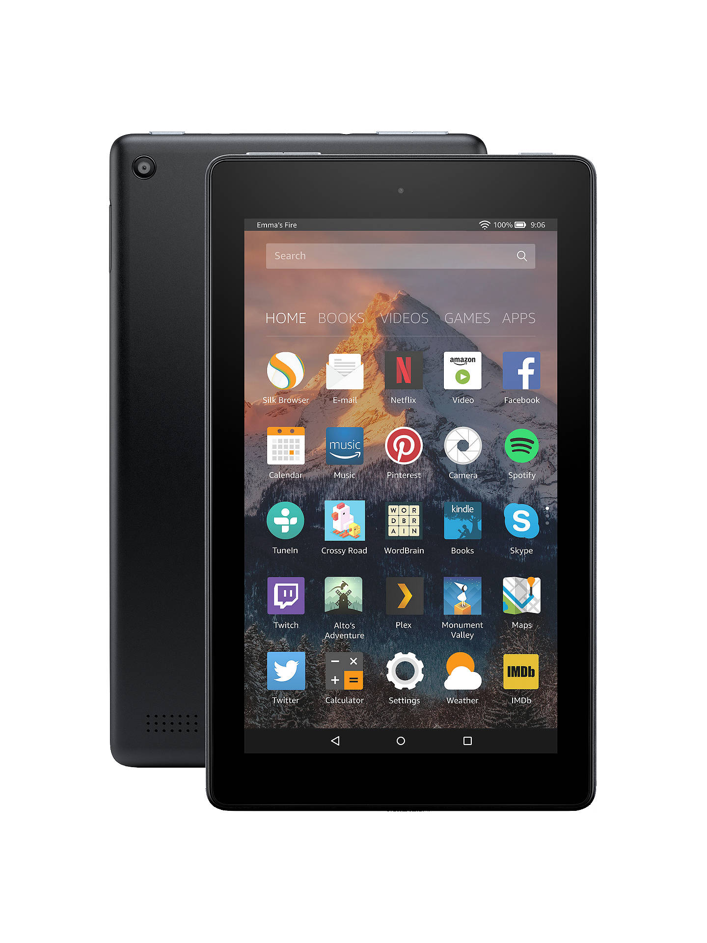 "BuyNew Amazon Fire 7 Tablet with Alexa, Quad-core, Fire OS, 7"", Wi-Fi, 8GB, 7"", with Special Offers, Black Online at johnlewis.com"