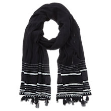 Buy Mint Velvet Embroidered Tassel Scarf, Black Online at johnlewis.com