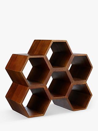 1ed9bb20a John Lewis & Partners Honeycomb Mango Wood Wine Rack, 6 Bottle, Natural