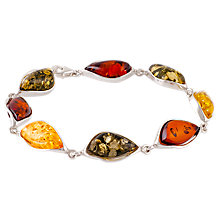Buy Be-Jewelled Amber Sterling Silver Bracelet, Multi Online at johnlewis.com