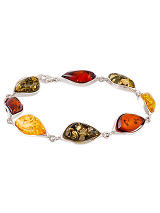 Be-Jewelled Amber Sterling Silver Bracelet, Multi