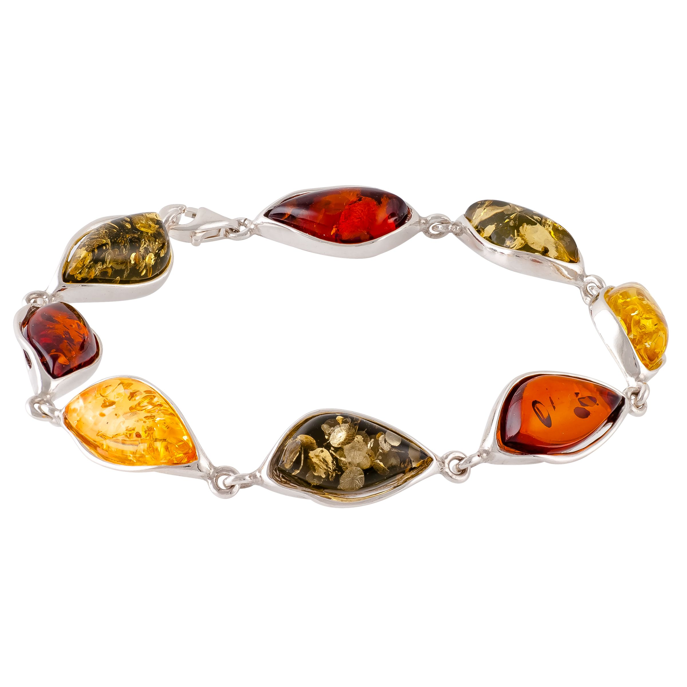 Be-Jewelled Be-Jewelled Amber Sterling Silver Bracelet, Multi