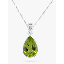 Buy EWA 9ct White Gold Teardrop Pendant Necklace Online at johnlewis.com