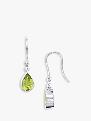 EWA 9ct White Gold Peridot Teardrop Drop Earrings, Green
