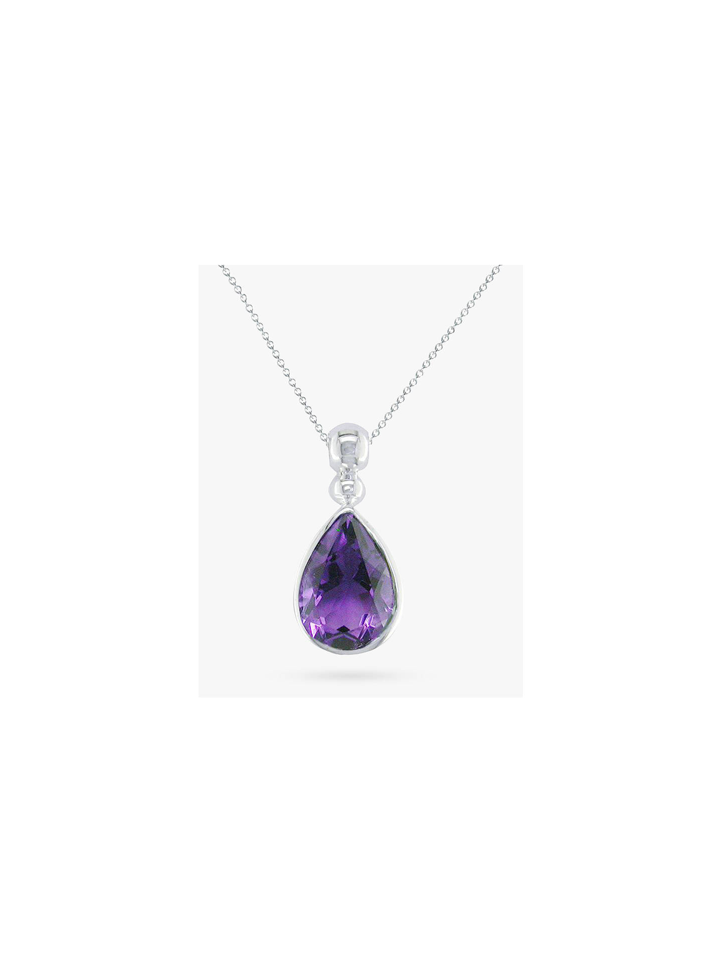 BuyEWA 9ct White Gold Teardrop Pendant Necklace, Amethyst Online at johnlewis.com