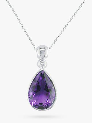 E.W Adams 9ct White Gold Teardrop Pendant Necklace