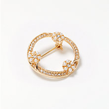 Buy John Lewis Faux Pearl Wreath Brooch, Gold Online at johnlewis.com