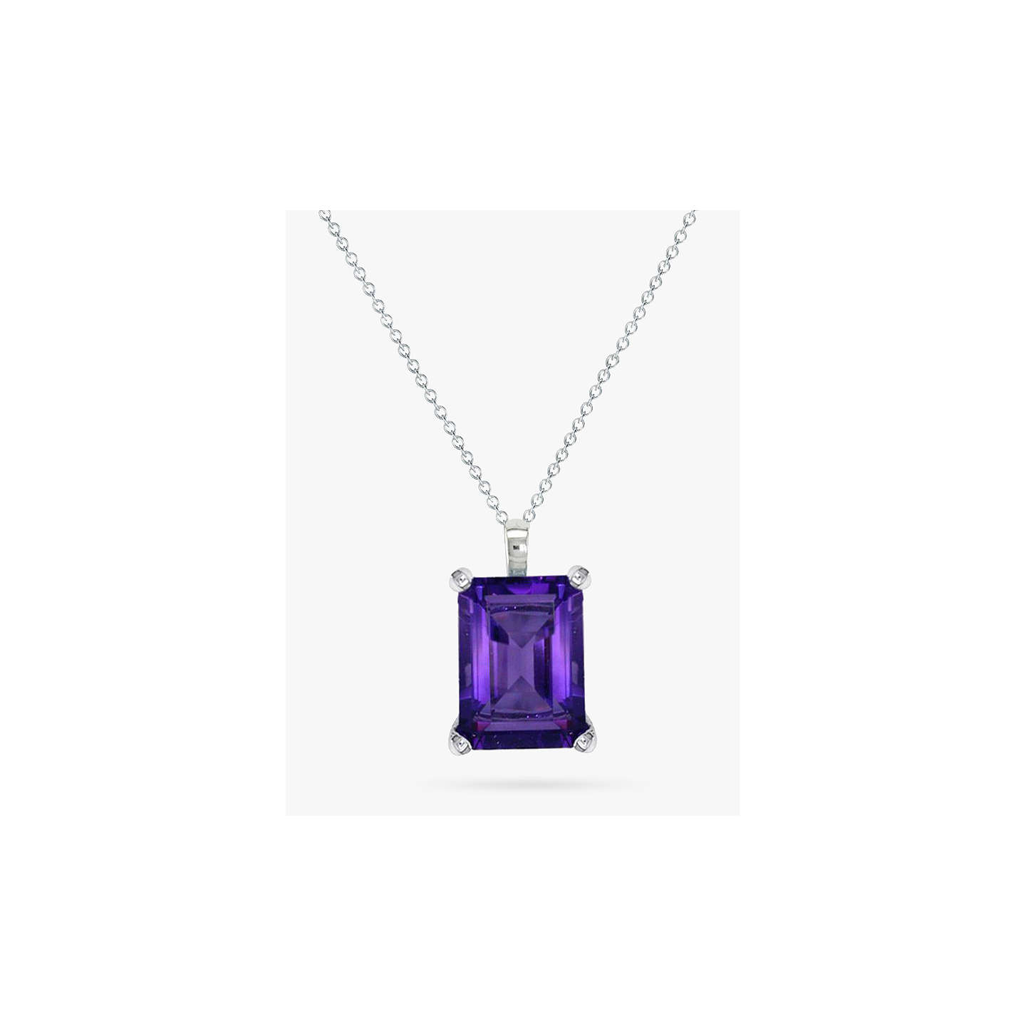 BuyEWA 9ct White Gold Baguette Pendant Necklace, Amethyst Online at johnlewis.com