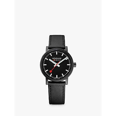 Mondaine MSE.35121.LB Unisex Evo 2 Leather Strap Watch, Black
