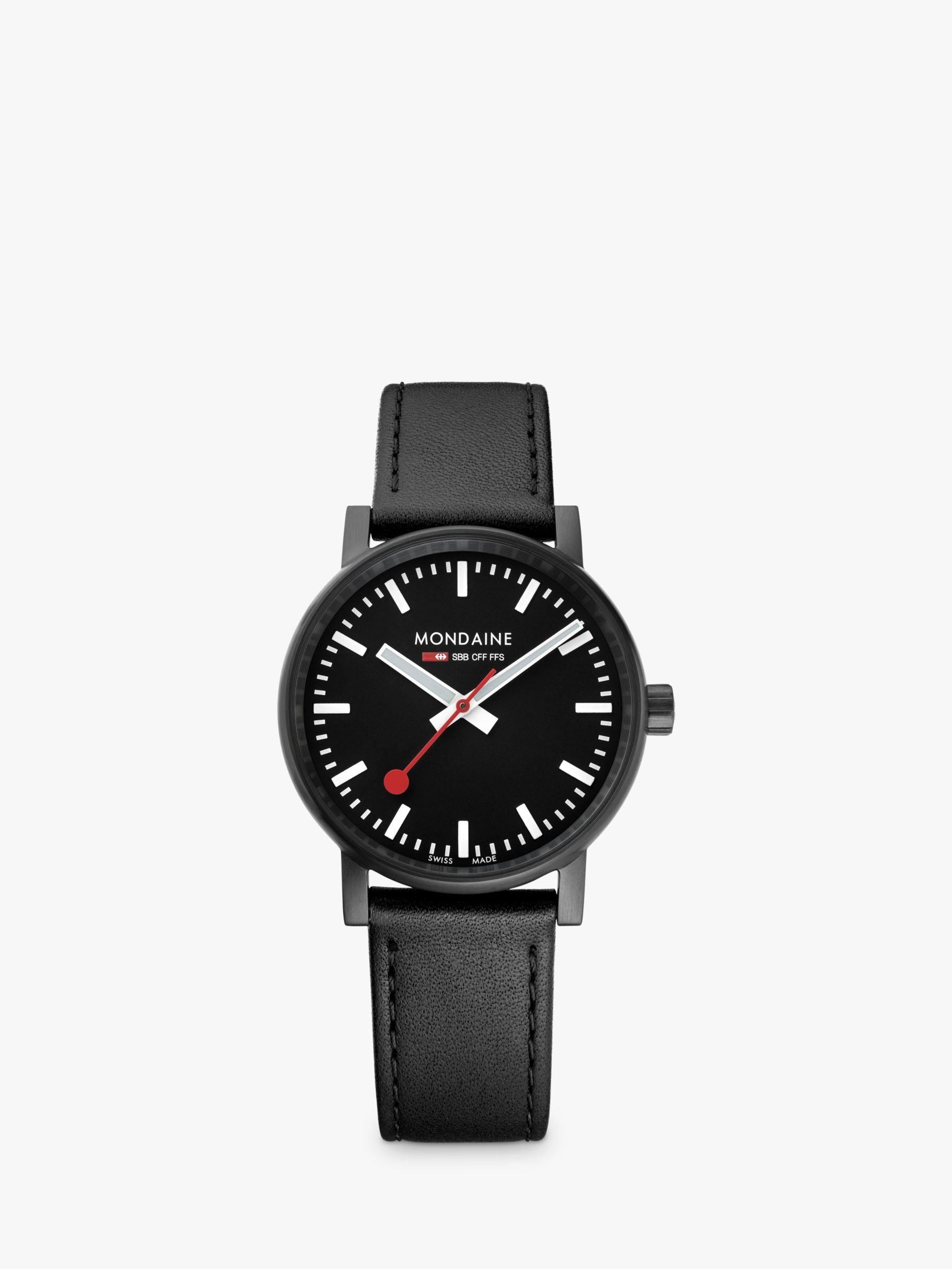 Mondaine Mondaine MSE.35121.LB Unisex Evo 2 Leather Strap Watch, Black