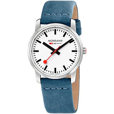 Modaine Simply Elegant A400.30351.16SB Women's Leather Strap Watch, Blue/Silver