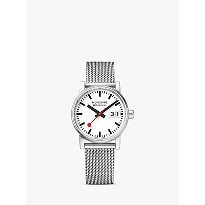 Mondaine MSE.30210.SM Unisex Evo 2 Date Mesh Bracelet Strap Watch, Silver/White