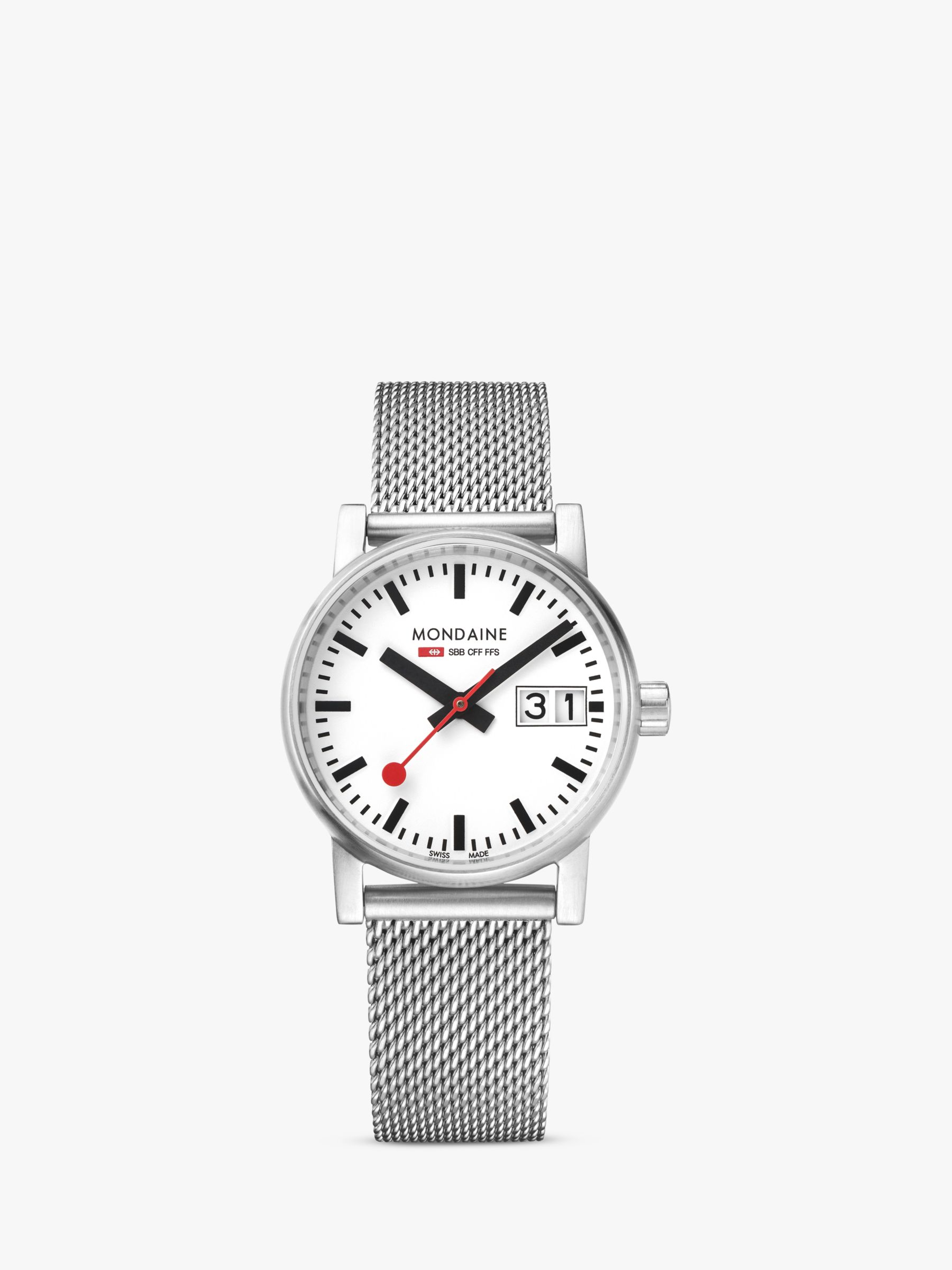 Mondaine Mondaine MSE.30210.SM Unisex Evo 2 Date Mesh Bracelet Strap Watch, Silver/White