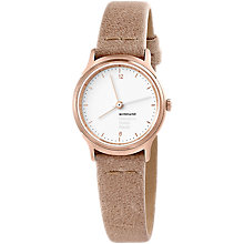 Buy Mondaine Helvetica MH1.l1110.LG Women's Leather Strap Watch, Sand/White Online at johnlewis.com