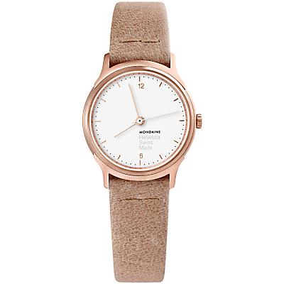 Mondaine Helvetica MH1.l1110.LG Women's Leather Strap Watch, Sand/White
