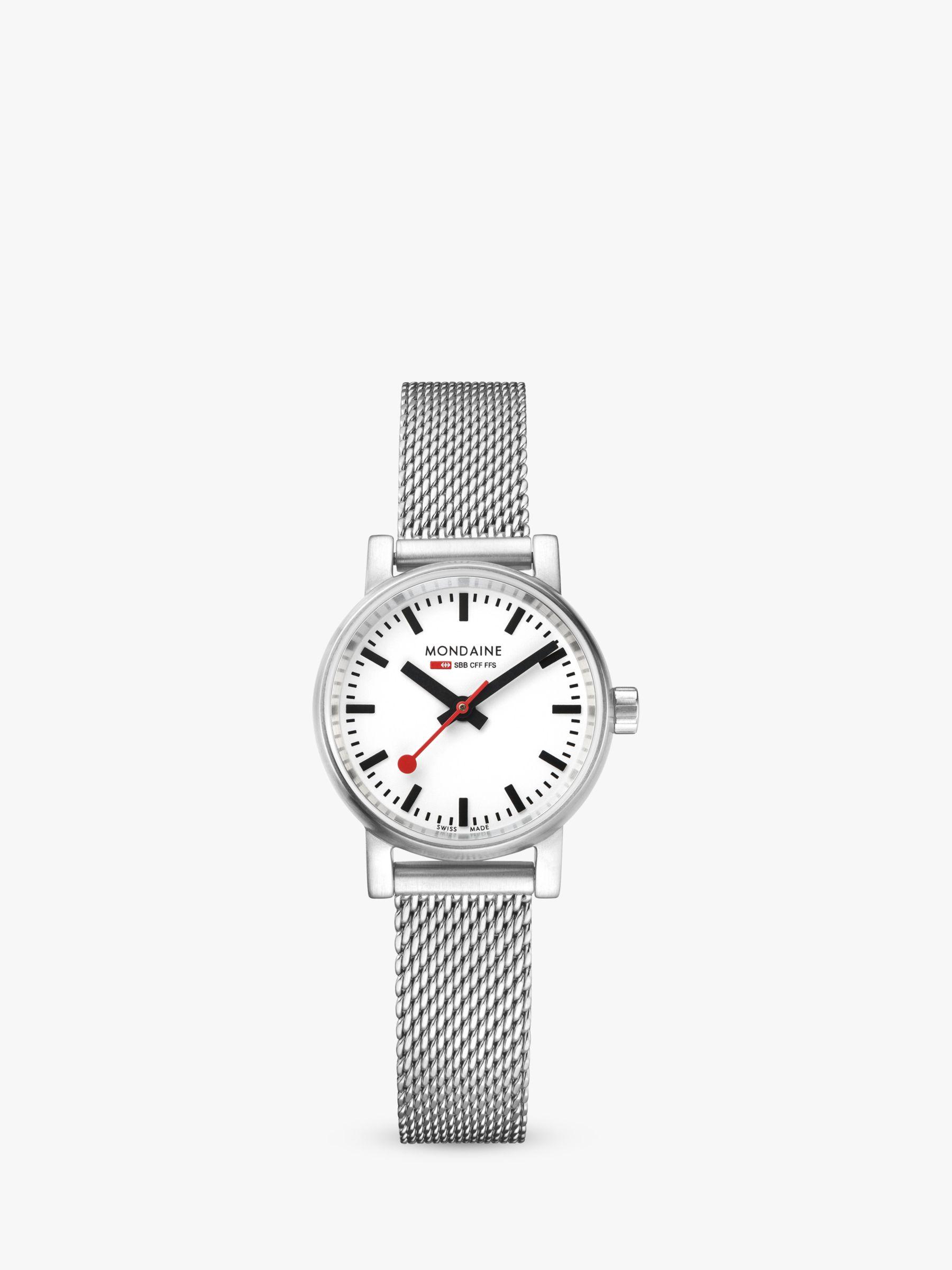 Mondaine Mondaine MSE.26110.SM Unisex Evo 2 Mesh Bracelet Strap Watch, Silver/White