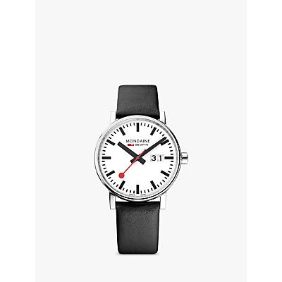 Mondaine MSE.40210.LB Unisex Evo 2 Date Leather Strap Watch, Black/White