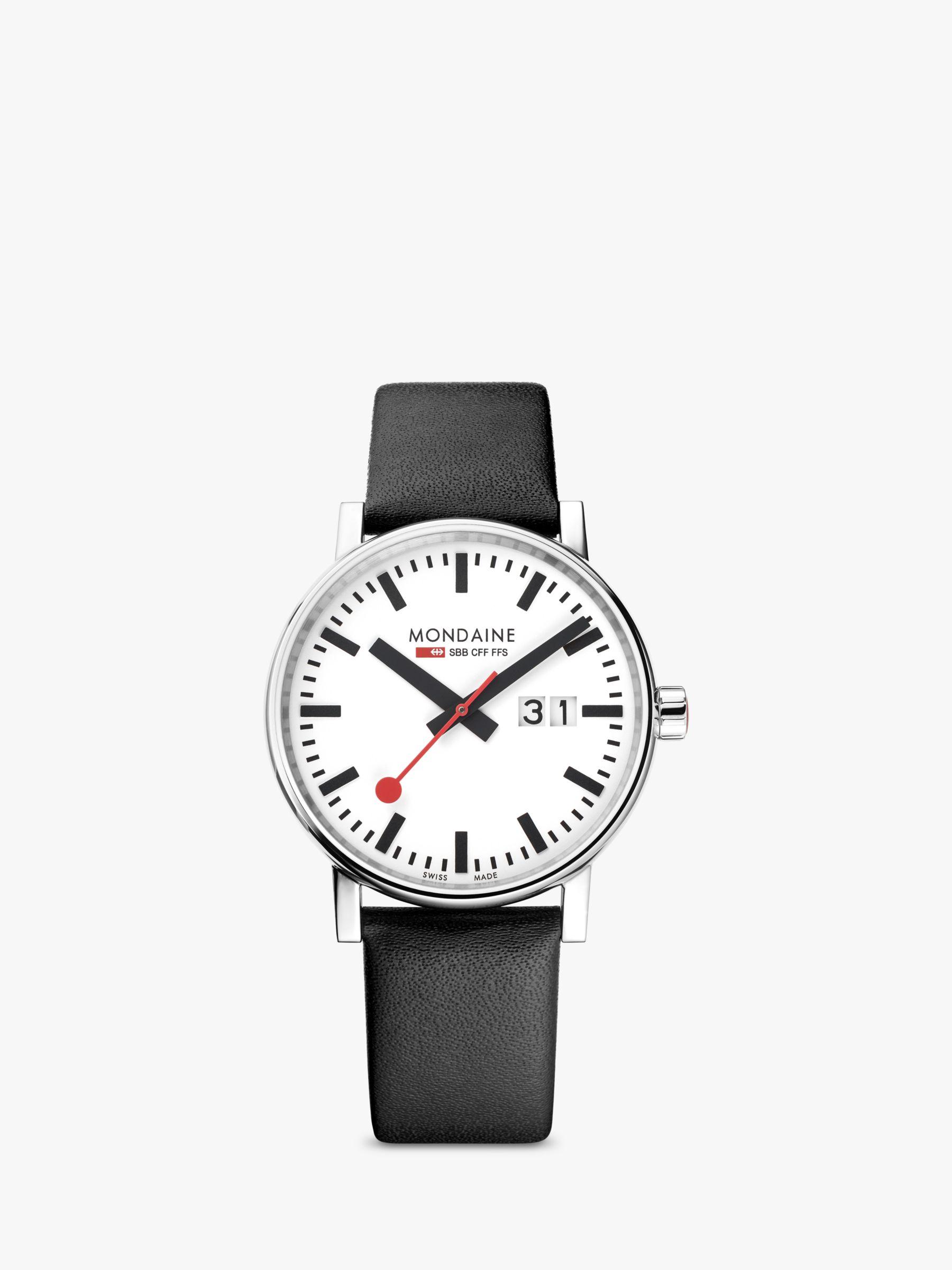 Mondaine Mondaine MSE.40210.LB Unisex Evo 2 Date Leather Strap Watch, Black/White