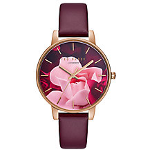 Buy Ted Baker TE15162009 Women's Leather Strap Watch, Burgundy/Multi Online at johnlewis.com