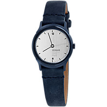 Buy Mondaine Helvetica MH1.l1110.lD Women's Leather Strap Watch, Blue/White Online at johnlewis.com
