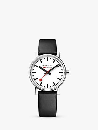 Mondaine MSE.35110.LB Unisex Evo 2 Leather Strap Watch, Black/White