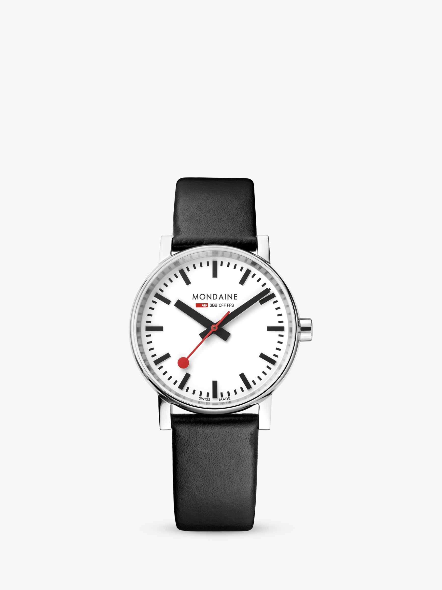 Mondaine Mondaine MSE.35110.LB Unisex Evo 2 Leather Strap Watch, Black/White