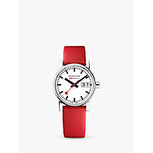 Buy Mondaine MSE.30210.LC Unisex Evo 2 Date Leather Strap Watch, Red/White Online at johnlewis.com