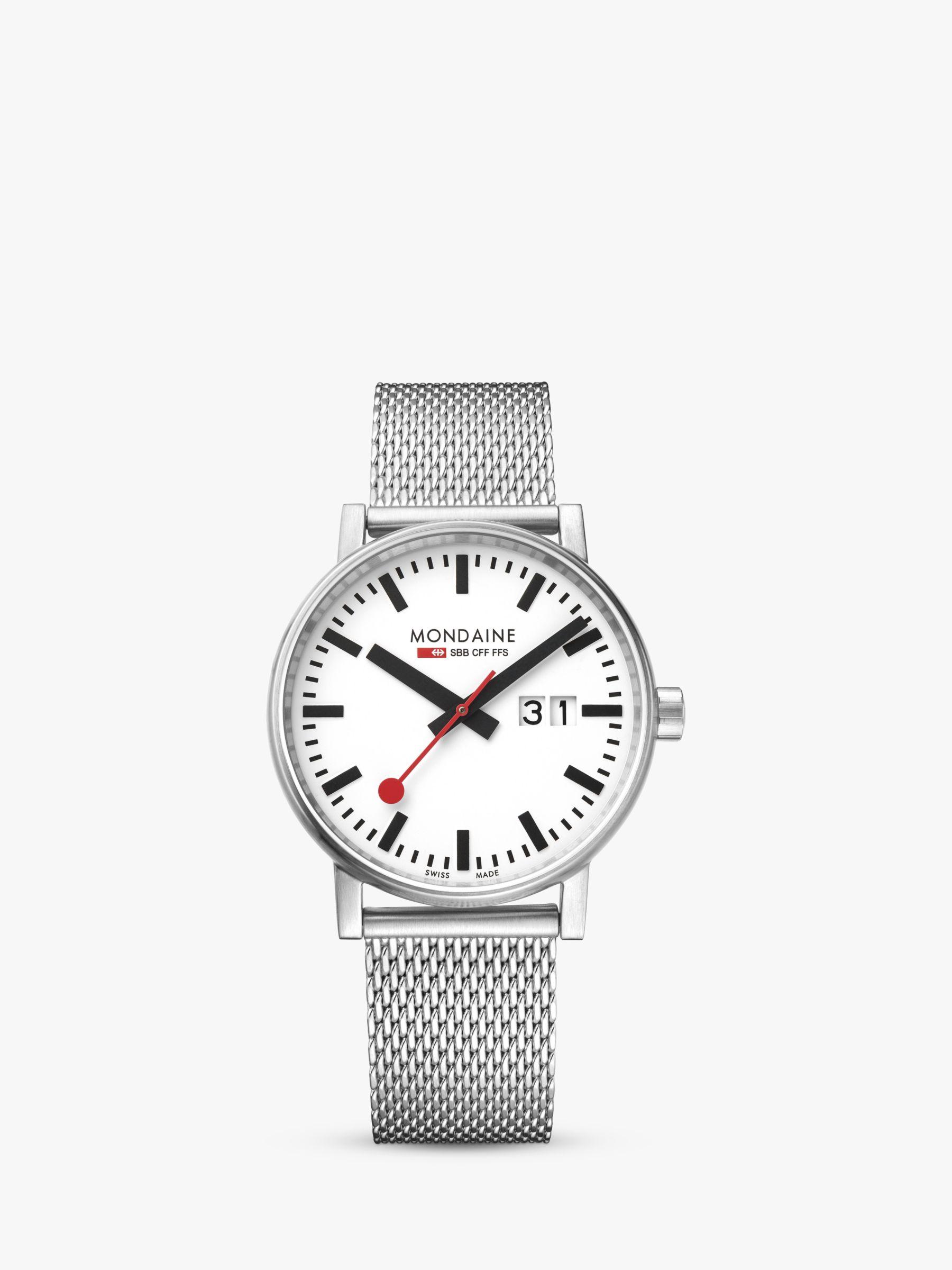 Mondaine Mondaine MSE.40210.SM Unisex Evo 2 Date Mesh Bracelet Strap Watch, Silver/White