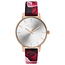 Buy Ted Baker TE15162008 Women's Floral Leather Strap Watch, Multi/Silver Online at johnlewis.com
