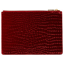 Buy Whistles Velvet Croc Medium Clutch Bag, Cinnamon Online at johnlewis.com