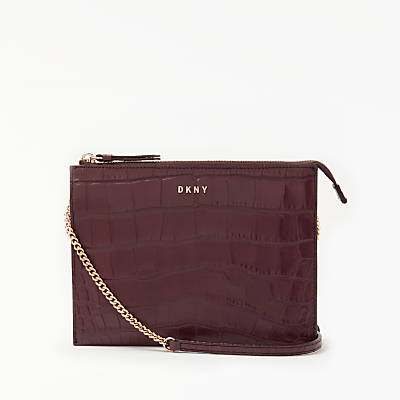 DKNY Sutton Croc Effect Leather Zip Across Body Bag