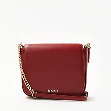 Buy DKNY Saddle Sutton Leather Small Flapover Cross Body, Scarlet Online at johnlewis.com