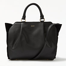Buy DKNY Calf Suede Small Gusseted Satchel Bag, Black Online at johnlewis.com