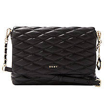 Buy DKNY Napa Leather Quilted Medium Flapover Across Body, Black Online at johnlewis.com