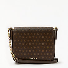 Buy DKNY Coated Logo Small Saddle Bag, Brown Online at johnlewis.com