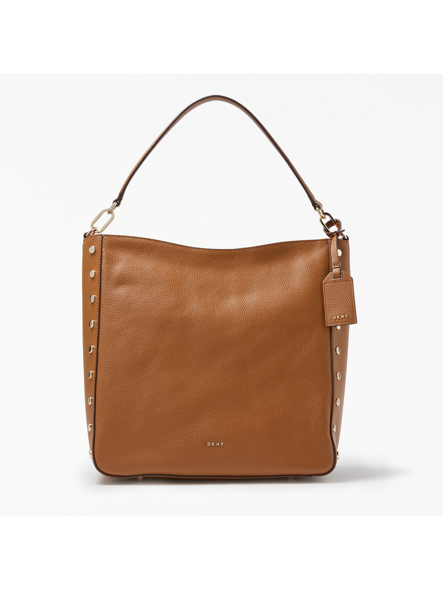 b3985eb5a1f BuyDKNY Chelsea Pebbled Leather Studded Hobo Bag, Camel Online at  johnlewis.com ...