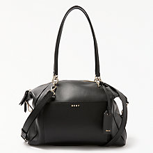 Buy DKNY Chelsea Pebbled Leather Large Satchel, Black Online at johnlewis.com