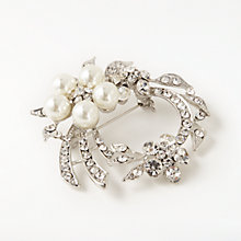 Buy John Lewis Faux Pearl and Cubic Zirconia Swirl Brooch, Silver/Clear Online at johnlewis.com