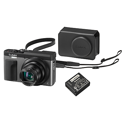 Image of Panasonic Lumix DC-TZ93 Super Zoom Digital Camera, 4K Ultra HD, 20.3MP, 30x Optical Zoom, Wi-Fi, EVF, 3 LCD Tiltable Touch Screen, Silver, with Case & Additional Battery Kit