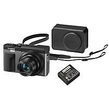 "Buy Panasonic LUMIX DMC-TZ93 Super Zoom Digital Camera, 4K Ultra HD, 20.3MP, 30x Optical Zoom, Wi-Fi, EVF, 3"" LCD Tiltable Touch Screen, Silver, with Case & Additional Battery Kit Online at johnlewis.com"